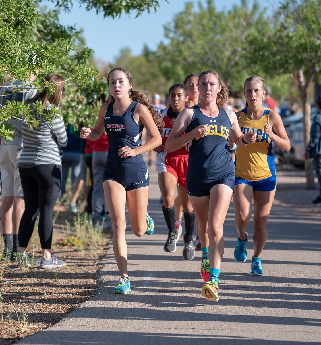(Jamie Jane/Boulder City Review) Senior Mary Henderson, at front right, finished second out of ...