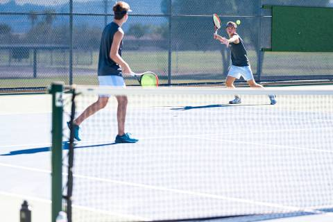 Boulder City High School seniors Kannon, left, and Kenny Rose seen playing against The Meadows ...