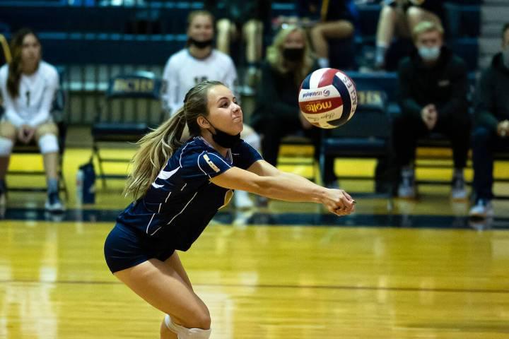 (Jamie Jane/Boulder City Review) Boulder City High School senior Zoey Robinson had 15 digs in F ...
